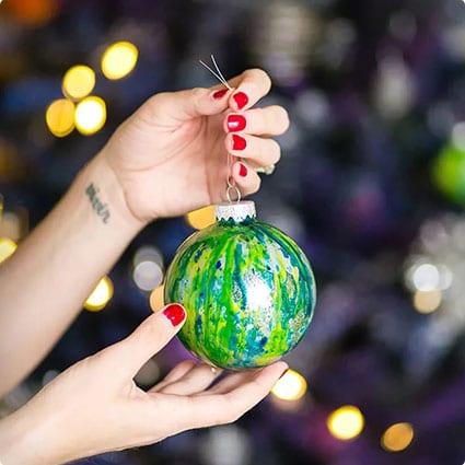 DIY Galaxy Christmas Ornaments
