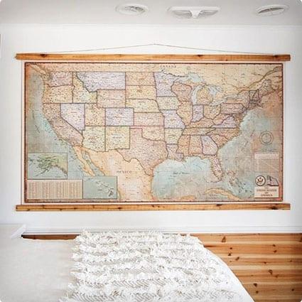 DIY Push-Pin Vintage-Style Map