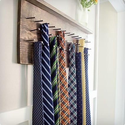 DIY Rustic Tie Rack