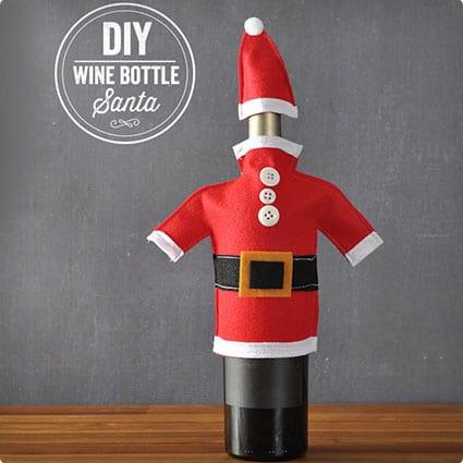 DIY Wine Bottle Santa Suit