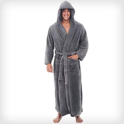 Del Rossa Men's Fleece Long Hooded Bathrobe