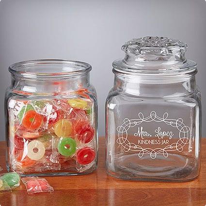 Engraved Glass Jars for Desk
