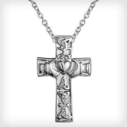 Irish Cross Claddagh Necklace