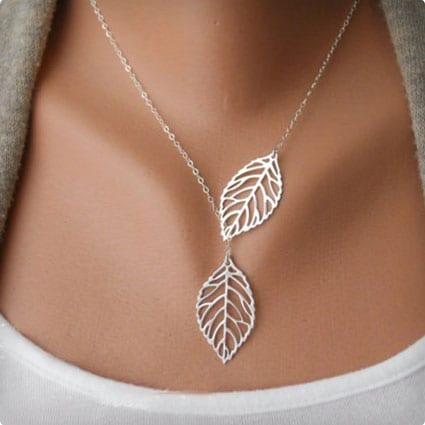 Leaf Lariat Silver Necklace