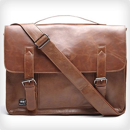 Men's Vintage PU Leather Briefcase and Messenger Bag