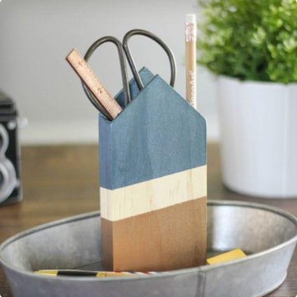 Metallic & Wood Pencil Holder