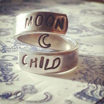 Moon child aluminum ring swirl style
