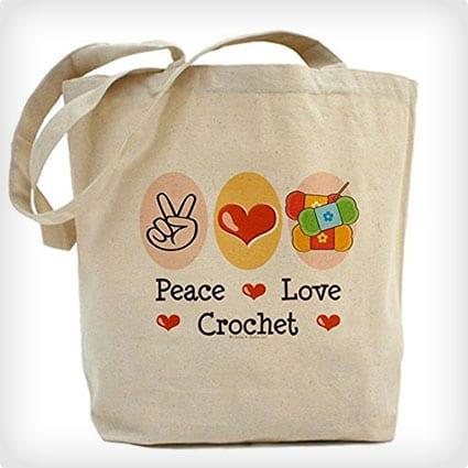 Peace Love Crochet Tote