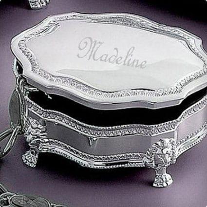 Personalized Classique Silver Jewelry Box