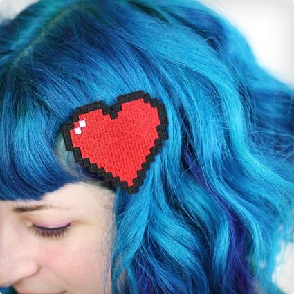 Pixel Heart Hair Clip