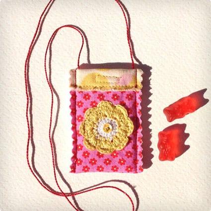 Pocket Necklace, Fabric Necklace, Stocking Stuffers