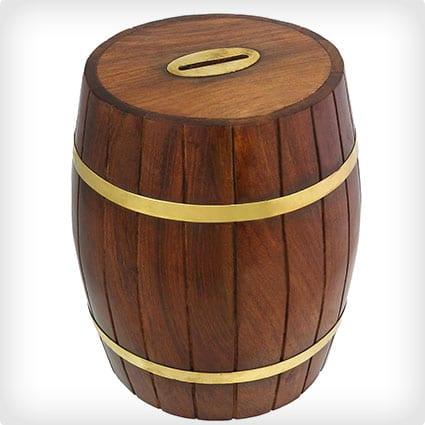Safe Money Box - Wooden Barrel