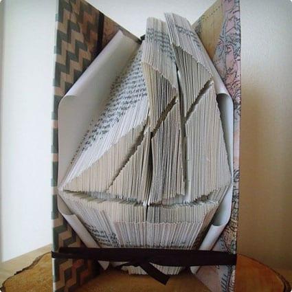 Sailboat Folded Book Sculpture