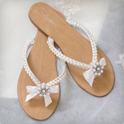 Sandals w/ Pearls & Rhinestones