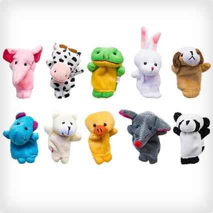 Story Time 10 Piece Velvet Animal Finger Puppets