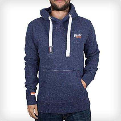 Superdry Men's Orange Label Flecked Logo Hoodie, Blue