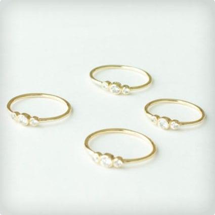 Three Stone Thin Gold Ring