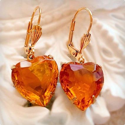 Topaz Heart Earrings