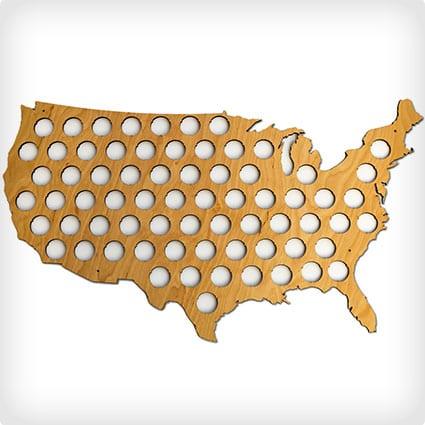 USA Beer Cap Map - Glossy Wood Bottle Cap Holder - Skyline Workshop