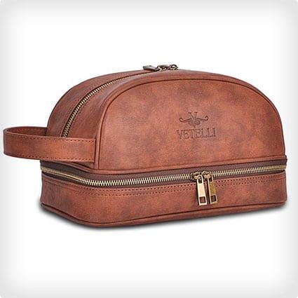 Vetelli Leather Toiletry Bag for Men