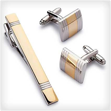 Cufflink and Tie Clip Set