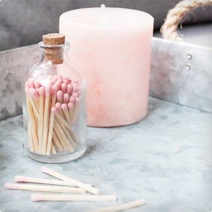 Blush Pink Matchstick Jar