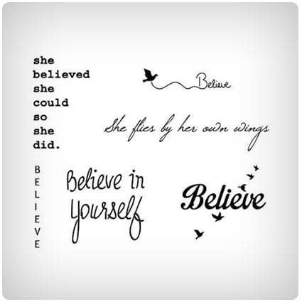 Believe Quotes Temporary Tattoo