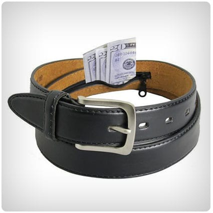 Men's Black Leather Money Belt