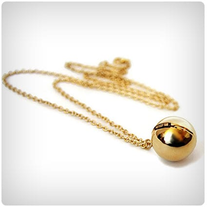 Gold-tone Secret Message Ball Locket Necklace