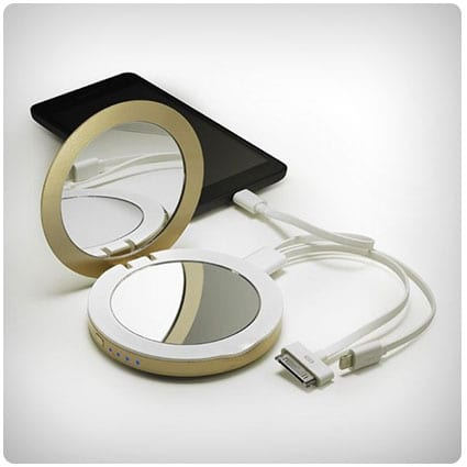 Pearl Compact Mirror USB Rechargeable Battery Pack