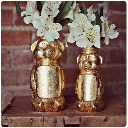 Gold Honey Bear Vase