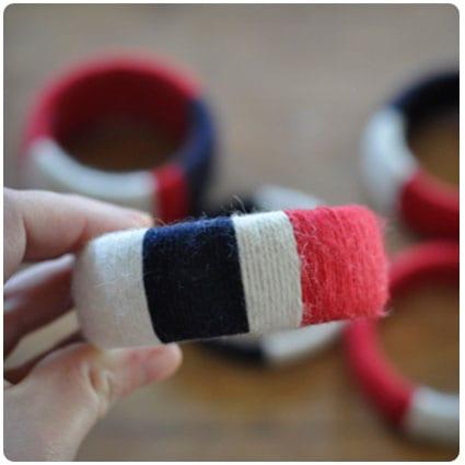 Diy Nautical Stripe Yarn Bracelets