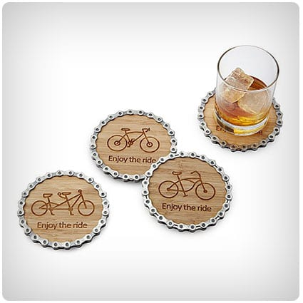 Enjoy the Ride Bike Chain Coaster Set