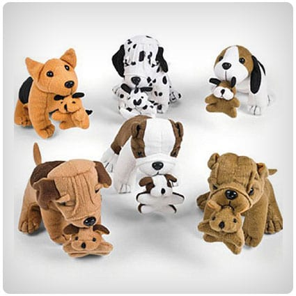 Fun Express Plush Dogs Holding Puppies