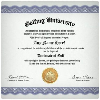 Golfer Golf Degree Diploma