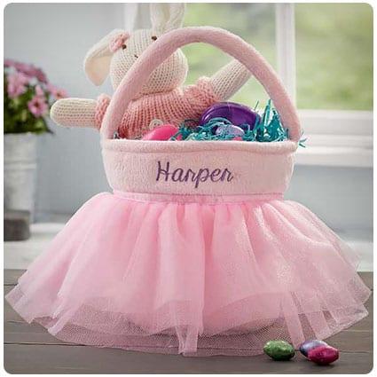 29 darling easter baskets for your babys first easter dodo burd pink tutu personalized easter basket negle Images