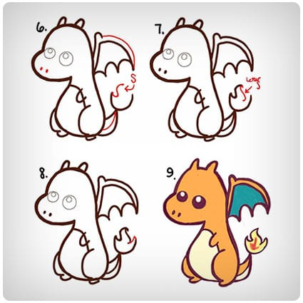 How to Draw a Cute Baby Chibi Charizard