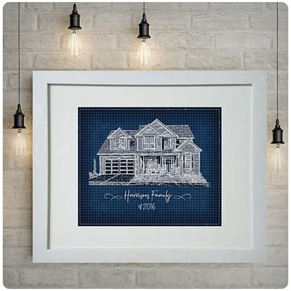 Personalized Blueprint Portrait Of Your House