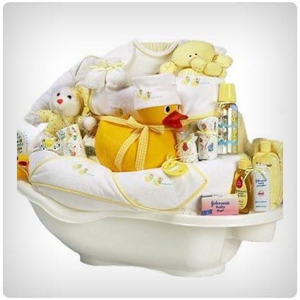 Rub-a-Dub Tub New Baby Bath Time Gift Basket