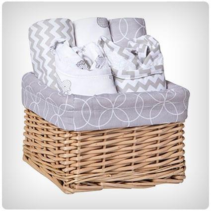 Trend Lab Bib & Burp Feeding Basket Gift Set