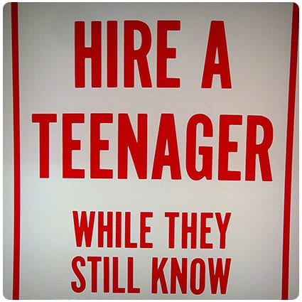 Leister Hire a Teenager Plastic Sign