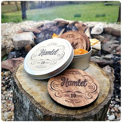 10th Anniversary Personalized Wood Coasters