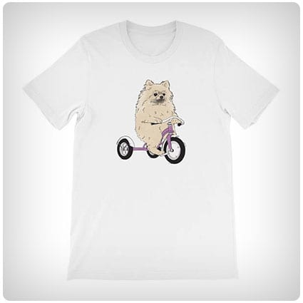 Pomeranian On A Tricycle T-shirt