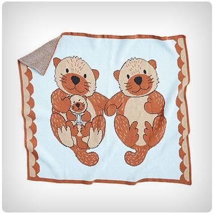Cuddling Otters Baby Blanket