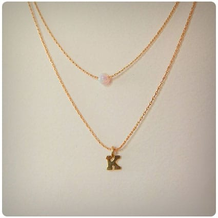 Layered Opal Birthstone Initial Necklace