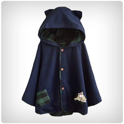 Aza Boutique Tweed Cat Ears Hooded Cape