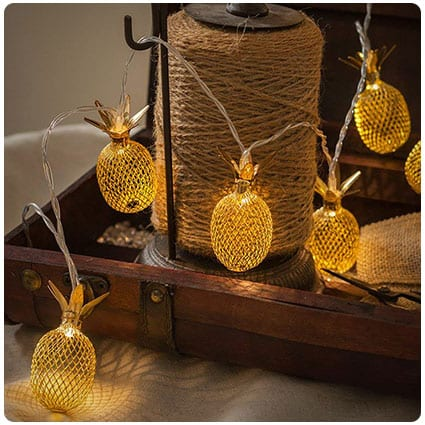 Gold Metal Mesh Pineapple LED String Lights