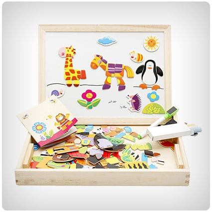 Lewo Wooden Educational Toys Magnetic Art Easel