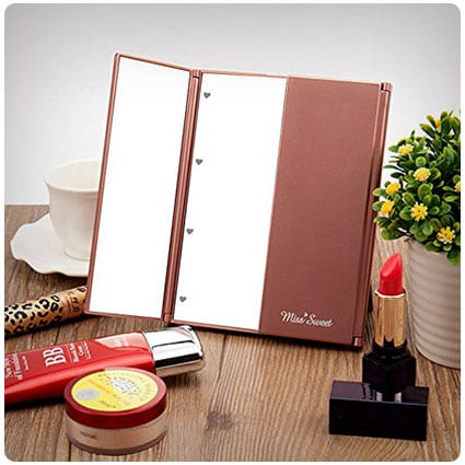 Miss Sweet Small Led Lighted Tri-Fold Makeup Mirror