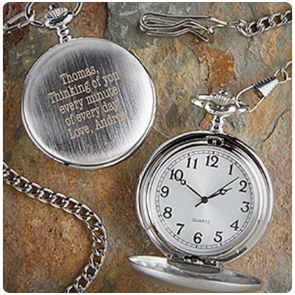 Personalized Silver Pocket Watch